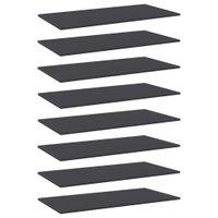 Lumarko Półki na książki, 8 szt., szare, 80x20x1,5 cm, płyta wiórowa