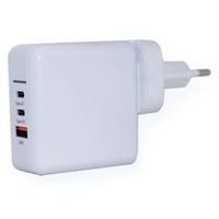 Ładowarka sieciowa ER Power 65W GaN PD 2x USB-C, USB-A QC 3.0 Biała