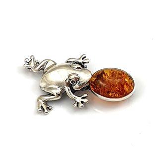 Broszka srebrna żaba z naturalnym buszrtynem