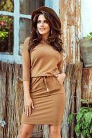 Sukienka z kieszeniami i ściągaczem w pasie - Brązowy XL