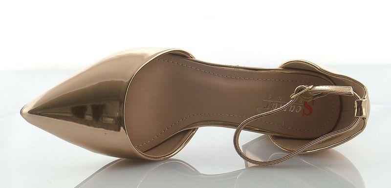 Czółenka sandały na słupku 5 cm. pasek złote champagne