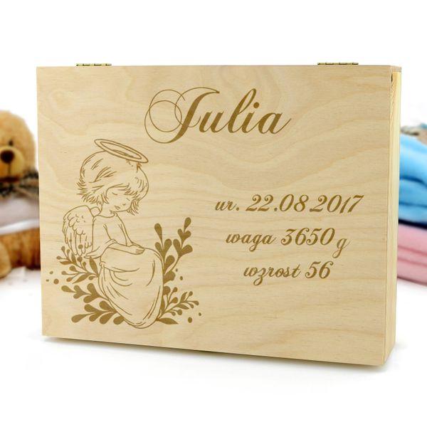 Pamiątka chrztu SZKATUŁKA drewniana PREZENT GRAWER na Arena.pl