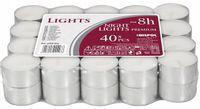 Podgrzewacze bezzapachowe tealight BISPOL 8H NIGHT LIGHTS 40szt.