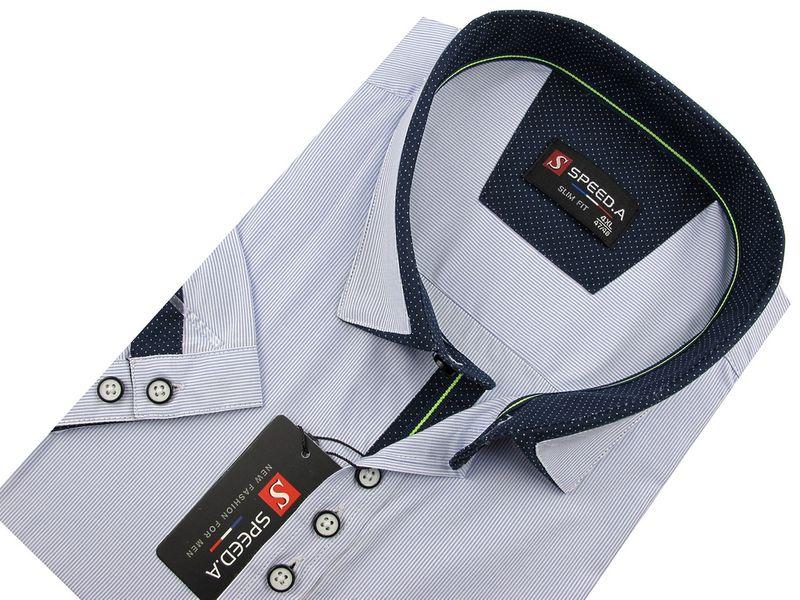 Koszula Męska Speed.A błekitna w białe paski na krótki rękaw  2ixR5
