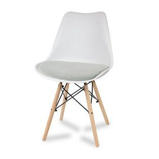 Krzesło z welurową szarą poduszką na drewnianych bukowych nogach nowoczesne białe 053W-G
