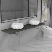 Trzyczęściowy zestaw mebli do łazienki, ceramiczny, szary