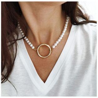 NASZYJNIK SZTUCZNE perły z kołem N709