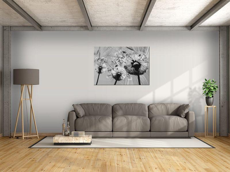 Obraz Białe dmuchawce na szarym tle 100x70 zdjęcie 3