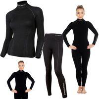 Bielizna termoaktywna BRUBECK EXTREME WOOL komplet DAMSKI koszulka+spodnie czarny S (LS11920+LE11130)