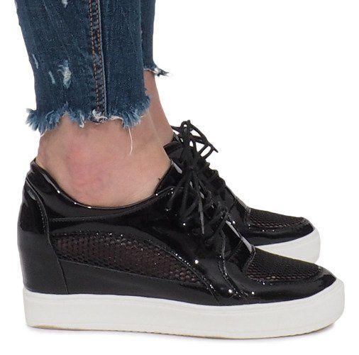 Czarne Lakierowane Ażurowe Sneakersy Adele