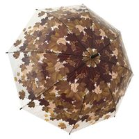 Przezroczysta parasolka damska w jesienny wzór, brązowe liście