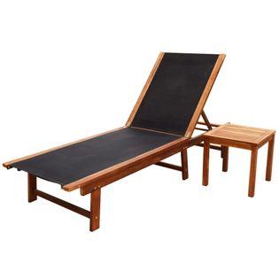 Lumarko Leżak ze stolikiem, lite drewno akacjowe i tkanina textilene;