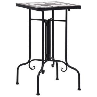 Stolik mozaikowy, czarno-biały, ceramiczny