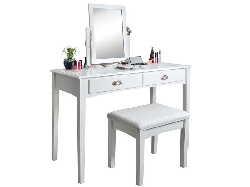 Toaletka Kosmetyczna Lustrem Biała Taboret Biurko 4646 zdjęcie 1
