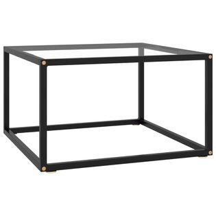 Lumarko Stolik herbaciany, czarny, hartowane szkło, 60x60x35 cm