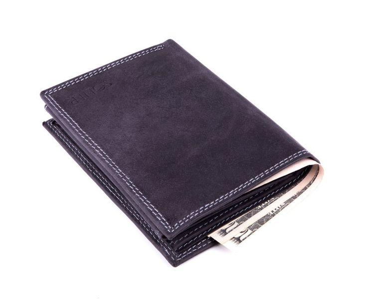 Elegancki czarny skórzany męski portfel czarny zdjęcie 3