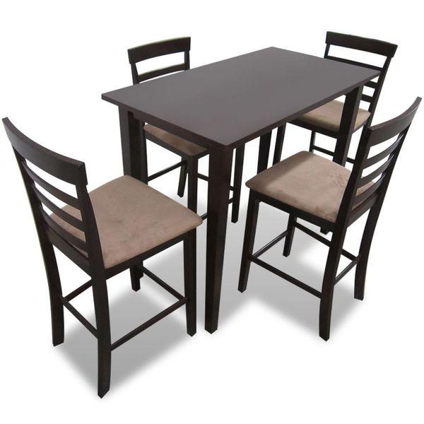Drewniane, Brązowe Meble Barowe: Stół I 4 Krzesła zdjęcie 1