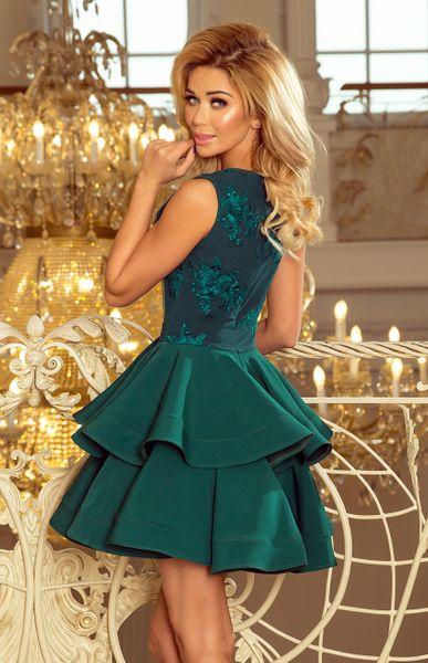 a834a637e18d20 200-6 CHARLOTTE - ekskluzywna sukienka z koronkowym dekoltem - ZIELONA  Rozmiar - XL zdjęcie