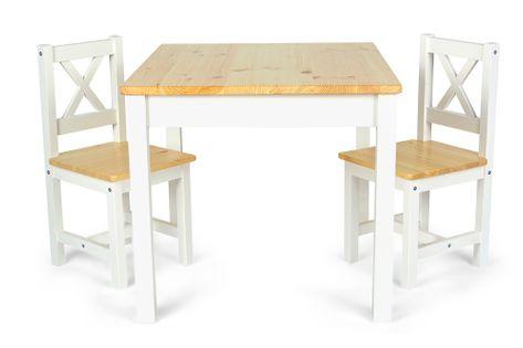 Drewniany stolik + 2 krzesełka White/Pine