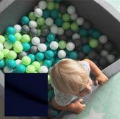 Suchy basen dla dzieci z piłeczkami 90x90x40 kwadratowy - granatowy 300 piłeczek Color - Blue