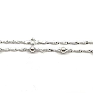 Łańcuszek srebrny singapu z kuleczkami 45 cm