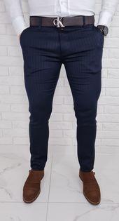 Eleganckie spodnie w jodelke granatowe 77L - 31