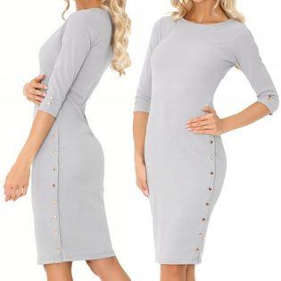 Sukienka szara z guzikami szara klasyczna S