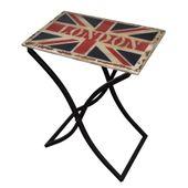 Stolik kawowy z drewnianym blatem z flagą brytyjską