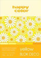 Blok techniczny kolorowy Deco żółty A4 Happy Color