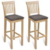 Krzesła barowe, 2 szt., naturalne drewno