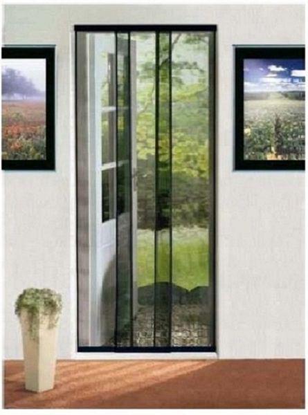 Moskitiera Drzwiowa 3 Pasy Drzwi 90x210cm Czarna