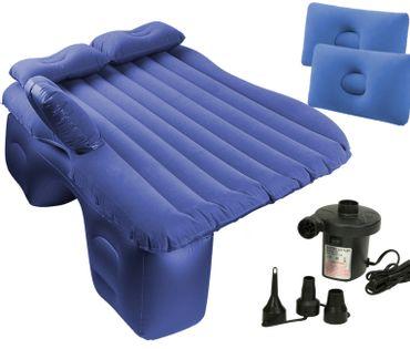 Materac dmuchany łóżko samochod 130x80cm niebieski + pompka