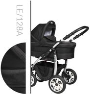 Leo Baby Merc tani nowoczesny wózek dziecięcy wielofunkcyjny 3w1 czarny