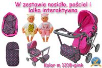 Wózek głęboki dla lalek  4 funkcyjny z torbą, pościelą  i lalką w zestawie/ 9346