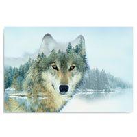 Obraz na płótnie - Canvas, Wilk nad jeziorem 100x70