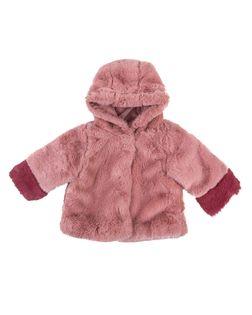 PEPCO Dziewczęca, różowa kurtka przejściowa z kapturem i futerkiem