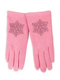 Rękawiczki dziewczęce dzianinowe różowe ozdobne kamyczki 21