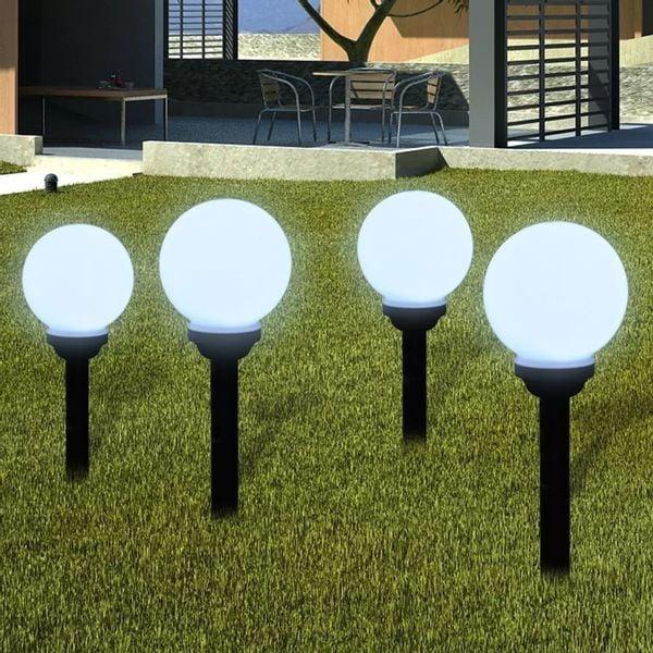 Lampa Lampy Lampki Solarne Led 15cm 4 Sztuki Z Uziemieniem Do Ogrodu