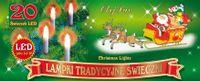 Tradycyjne świeczki na choinkę • sznur 4,75 m • 20 LED • do mocowania na gałązki • lampki choinkowe LED NR 1761 Wielokolorowy