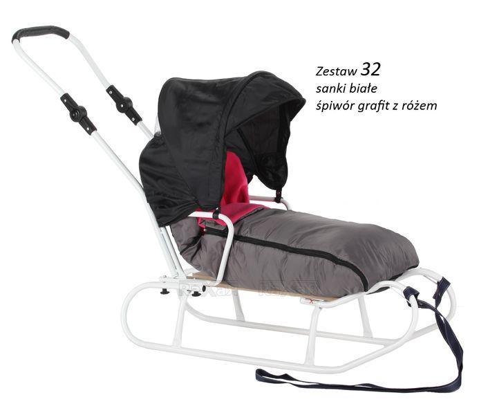 SANKI dla dzieci z budką, śpiworem, pchaczem 33 zestawy kolorystyczne zdjęcie 23