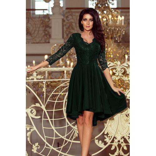 9f23b75b35 Sukienka z dłuższym tyłem z koronkowym dekoltem NICOLLE CIEMNA ZIELEŃ •  Arena.pl