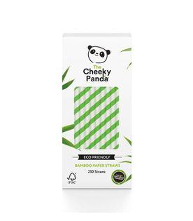 Jednorazowe słomki do napojów z papieru bambusowego ZIELONE PASKI 250 szt. The Cheeky Panda