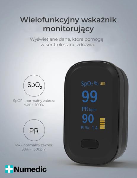 MEDYCZNY PULSOKSYMETR napalcowy pulsometr OLED +PI czarny na Arena.pl