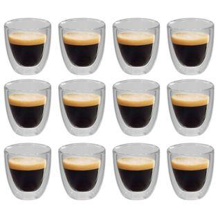 Lumarko Dwuścienne filiżanki termiczne na espresso, 12 szt., 80 ml