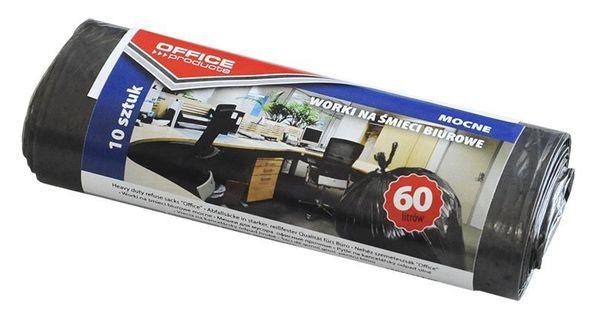 Worki Na Śmieci Biurowe Office Products, Mocne (Ldpe), 60L, 10Szt., Czarne