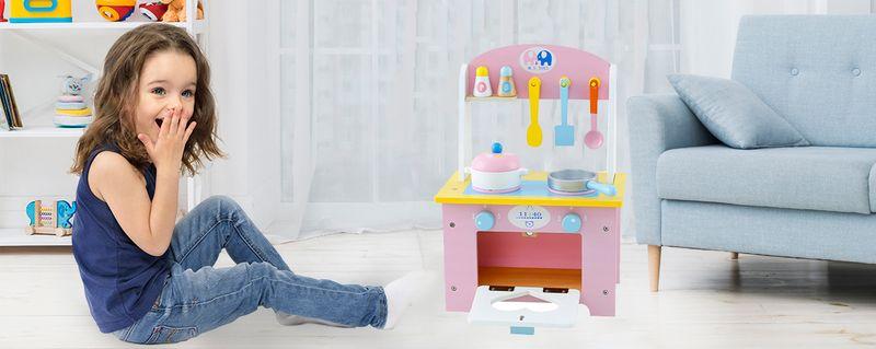 Drewniana Kuchnia Dla Dzieci z Akcesoriami otwierany piekarnik U46 zdjęcie 3