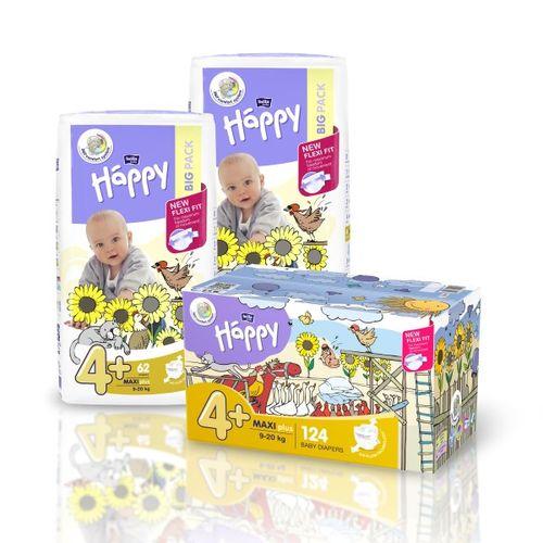 Pieluszki dla dzieci Bella Happy New Flexi Fit Maxi Plus BOX 124szt. na Arena.pl