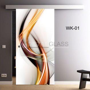 drzwi szklane przesuwne wzór kolorowy WK-01 75/85/95/105 (24h)