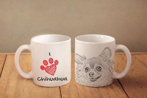 """Chihuahua długowłosa - kubek z wizerunkiem psa i napisem """"I love..."""". Wysokiej jakości kubek ceramiczny."""
