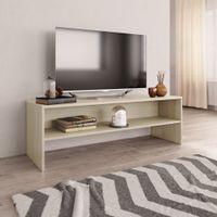 Szafka pod TV, biały i dąb sonoma, 120x40x40 cm, płyta wiórowa
